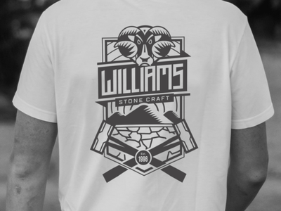Williams Stone Craft Logo hammer hammers mountains scotland branding logo design sports animal t-shirt graphic design vector crest logo