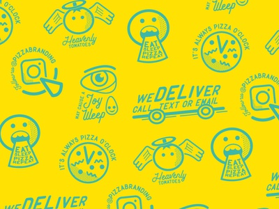 WIP Pizza Brand Pattern street food food logo vector illustration graphic design iconset emoji pattern branding pizza iconography icons