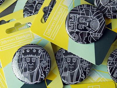 CHESSMEN BADGES clothing brand illustration scotland vector button badges shop merchandise logo scottish thick lines graphic design badge