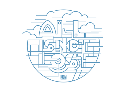 ALL IS NOT LOST celtic rural clouds line art thick lines circle vector art lettering type designer logo typography graphic design vector