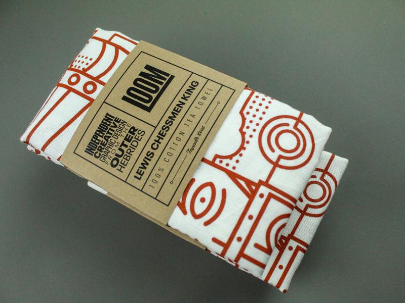 👑 KING Tea Towel packaging product screenprint geometric thick lines line art vector shop gift king scottish packaging merchandise towel tea towel