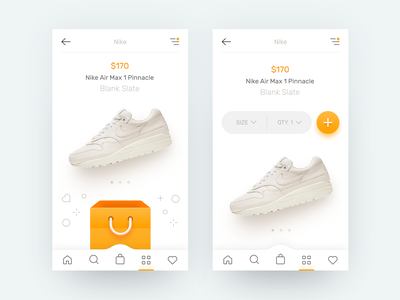 E-Commerce App checkout purchase buy add item shopping cart nike shoes clothing mobile app iphone line icons white orange clean style material ui ux gif animation e-commerce store ecommerce shop basket bag pull down