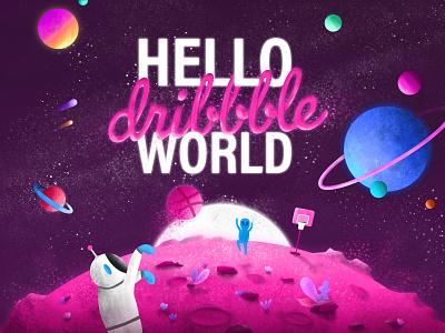 Illustration - Hello dribbble world astronaut basketball digital painting hello world hello dribbble planet space illustration