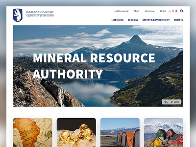 Government of Greenland tiles typography flat web design ux ui layout landing website