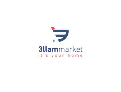3llam Market hypermarket store market world vector identity icon design brand branding icon logo design logodesign design logo