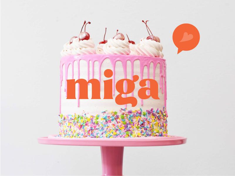 Logo for Miga cakes and dessert brand. brand design visual identity visual design identity designer identity branding identity design identity cake shop cake logo cake branding design brand identity branding brand