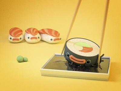 Sushi | Illustration cheese avocado illustration art digital fun art fun adobe photoshop cinema 4d asian japan art funny food design 3d wasabi nigiri illustration sushi