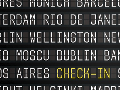 Check-in | Postal berlin new york wellington amsterdam rio de janeiro moscow buenosaires design branding black yellow typography world tickets airport festival trip check in travel airlines