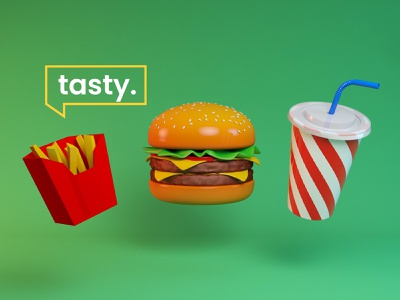 Foodie. cheeseburger fast food fastfood animation design tasty coke fries burger motiongraphics motion design after effects aftereffects cinema 4d cinema4d 3d animation 3d art 3d