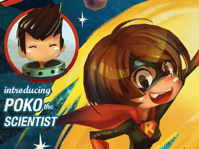January 2014 Calendar calendar illustration superhero girl space scientist