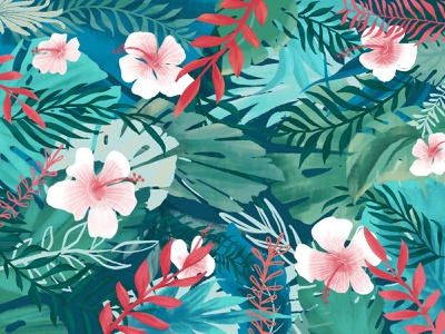 Breezy Tropics leaves fern procreate hawaii aruba palm tropical beach flowers hibiscus plants rainforest floral forest bookcover handdrawn editorial design design illustration