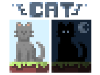 Random Cats digital pixel cat design