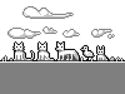 Monochrome Pixel Animals