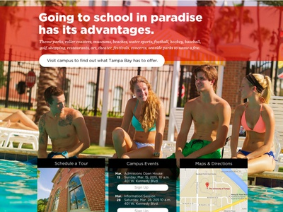 Admission pages don't have to be boring fun modern hot filter teens admissions tampa university summer palm trees pool beach