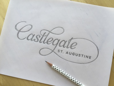 Castlegate Logo typography lettering logo script ligature swatch cursive graphite pencil handdrawn sketch