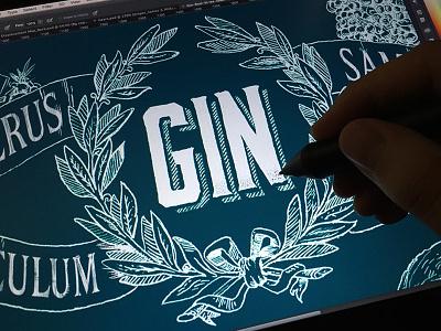 Gin etching ornate vintage lettering type crosshatch stippling digital alcohol gin