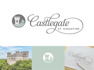 Castlegate logo process type lettering logo wave icon teal florida castle ligature script wedding