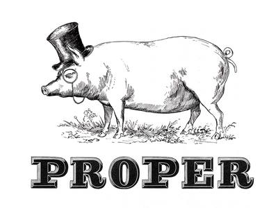 Proper Pig handdrawn handmade detail ink branding nib monocle lettering type rendering crosshatch illustration
