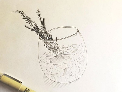 Gin and tonic handdrawn handmade detail ink branding nib type rendering crosshatch illustration