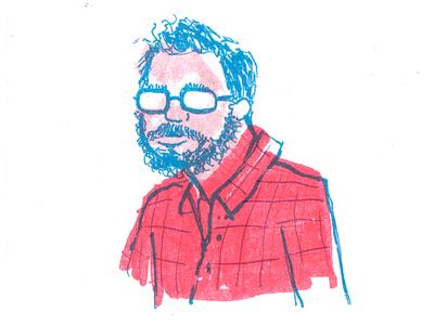 RISO Self Portrait  ink comics pen brush illustration print riso