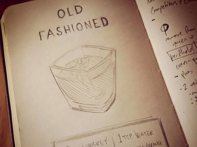 Old Fashioned drink recipe sketch old fashioned type whiskey