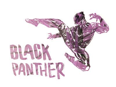 Black Panther black panther panther superhero comics ink purple handdrawn brush lettering marvel illustration