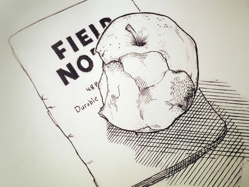Apple Sketch sketch ink apple crosshatch render crowquill speedball fieldnotes illustration typography comics fourchambers