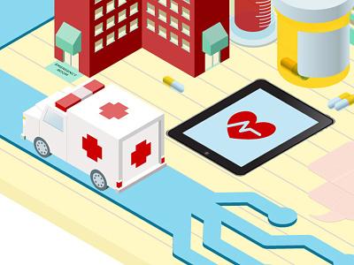 Orthogonal Illustration vector illustration orthogonal hospital medical ambulance pills technology buildings rx circuits wheels vials blood
