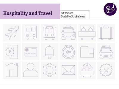 Hospitality and Travel Line Icons