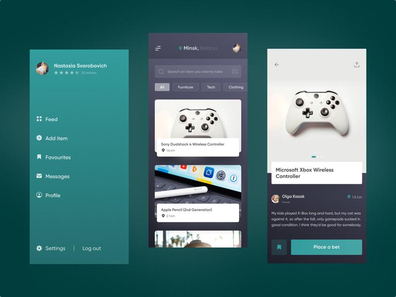 Giveaway app concept 🎁 apple pencil xbox product page icons ios design giveaway mobile aquamarine minimalistic clean catalog items side menu concept figma ux uiux ui app