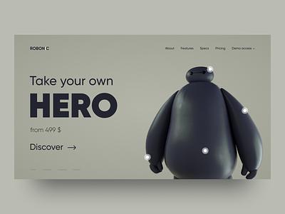 Your Own Hero hero warmachine android robot baymax octane render cinema 4d design web landing concept figma ux ui