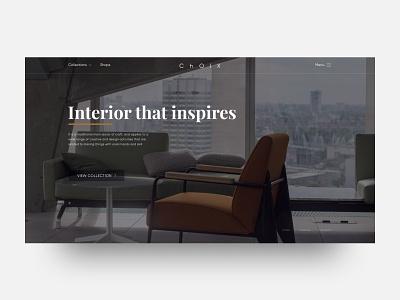 Choix furniture interior promo design web landing figma ux ui concept furniture