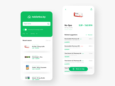tabletka.by app pharmacology pharma medical app ios concept figma design ui  ux catalog shop pharmacy drugs pills app