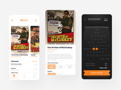 Movie tickets app available tarantino once upon a time figma ux ui mobile cinema booking app bycard movie ticket