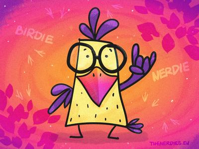 Birdie Nerdie Rock On Illustration