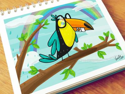 Birdie Toucan Illustration