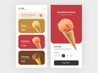 Cone Ice Cream Home Delivery App UI