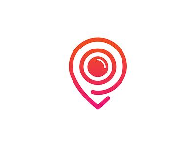 Postcard Logo camera identity letters simple p flat logo project branding