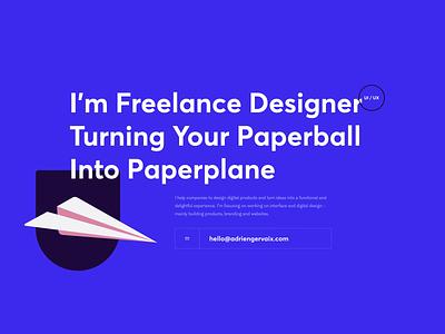 Portfolio — Adrien Gervaix purple ux ui product design portfolio design portfolio svg plane grid layout grid freelance portfolio freelance designer design casestudy