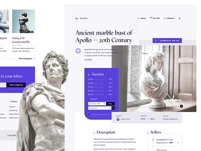 Auction website concept webdesign grid purple layout ux uiux ui bid auction