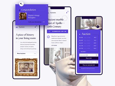 Auction website — Mobile version sculpture antique uiux ui layout bid purple auction responsive mobile