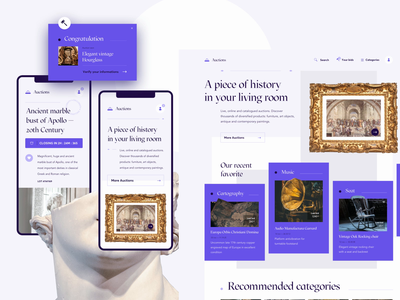 Auction — Video webdesign ecommerce antique statue landing page purple bid video auction uiux page grid design layout ui