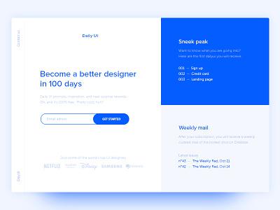 100 DailyUI — Redesign Landing Page page landing redesign dailyui 100
