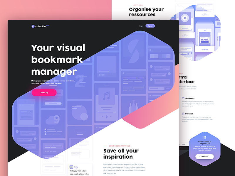 Collect.io — Landing page collect.io collect inspiration color shape manager bookmark visual