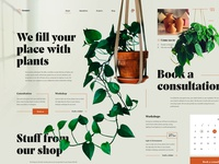 Plant shop outline calendar layout orange interior grid design plantshop plant