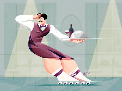 Roller Skater Waiter server 2d illustration food cafe procreate ipadpro ipad photoshop texture fireart studio fireart 2d roller skate wine restaurant waiter character design character illustration digital illustration