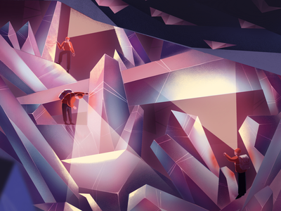 Cave of the Crystals crystal cave characterdesign ipadpro ipad illustrator photoshop fireart studio character naica gems crystals cave 2d illustration texture procreate illustration fireart 2d