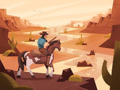 Wild West characterdesign fireart studio landscape game cactus mexico horse cowboy western wild west arthur morgan red dead redemption design character 2d illustration texture procreate illustration fireart 2d