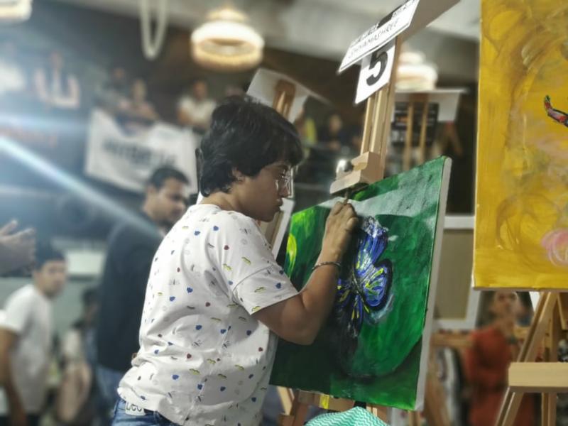 ArtBattle Bangalore 2020 live painting competition acrylic painting artbattle bangalore