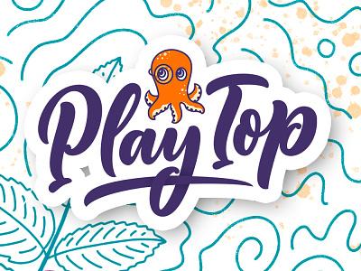 "Logotype ""PlayTop"" callygraphy illustraion illustrator design branding lettering art poster typography print logo hand drawn logotype lettering"